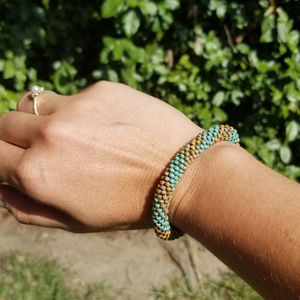 Tan & Teal Beaded Crochet Bracelet